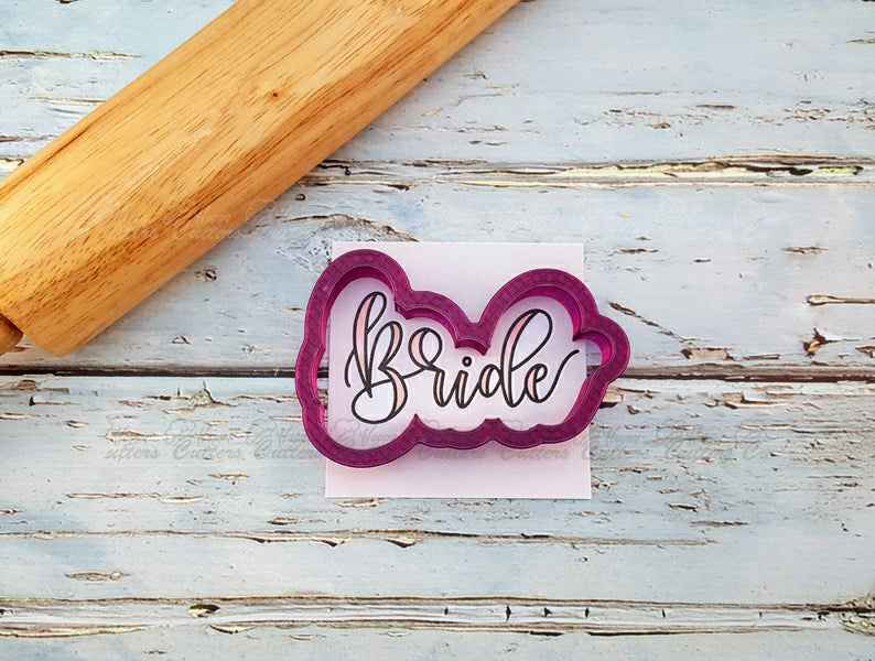Bride Hand Lettered Cookie Cutter and Fondant Cutter and Clay Cutter with Optional Stencil,                       letter cookie cutters, cursive letter cookie stamp, cursive letter fondant cutters, fancy letter cookie cutters, large letter cookie cutters, letter shaped cookie cutters, angel cookie cutter, mini gingerbread house cookie cutter, baking shape cutters, logo cookie cutter, disney cookie cutters, wedding dress cookie cutter michaels, mario brothers cookie cutters, 8 cookie cutter,