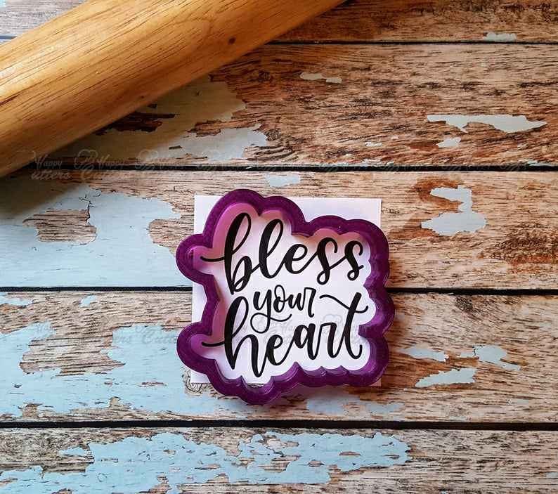 Bless your Heart Hand Lettered Cookie Cutter and Fondant Cutter and Clay Cutter with Optional Stencil,                       letter cookie cutters, cursive letter cookie stamp, cursive letter fondant cutters, fancy letter cookie cutters, large letter cookie cutters, letter shaped cookie cutters, heart cookie cutter michaels, tennis racket cookie cutter, toucan cookie cutter, diy cookie cutter aluminum foil, dinosaur cookie cutters michaels, lilo and stitch cookie cutters, cotton candy cookie cutter, chili pepper cookie cutter,