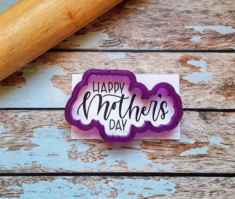 Happy Mother's Day Hand Lettered Cookie Cutter and Fondant Cutter and Clay Cutter with Optional Stencil,                       letter cookie cutters, cursive letter cookie stamp, cursive letter fondant cutters, fancy letter cookie cutters, large letter cookie cutters, letter shaped cookie cutters, dinosaur cookie cutters canada, dragon ball cookie cutter, cotton candy cookie cutter, dinosaur fondant cutter, skull cookie cutter, cookie cutters ireland, rocket ship cookie cutter, yoda cookie cutter,