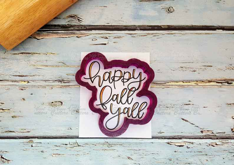 Happy Fall Yall Hand Lettered Cookie Cutter and Fondant Cutter and Clay Cutter with Optional Stencil,                       letter cookie cutters, cursive letter cookie stamp, cursive letter fondant cutters, fancy letter cookie cutters, large letter cookie cutters, letter shaped cookie cutters, communion cookie cutters, cheap cookie stencils, lego head cookie cutter, mini gingerbread house cookie cutter, dog bone shaped cookies, snowflake cookie cutter set, dino cookie cutter, steel cookie cutters,