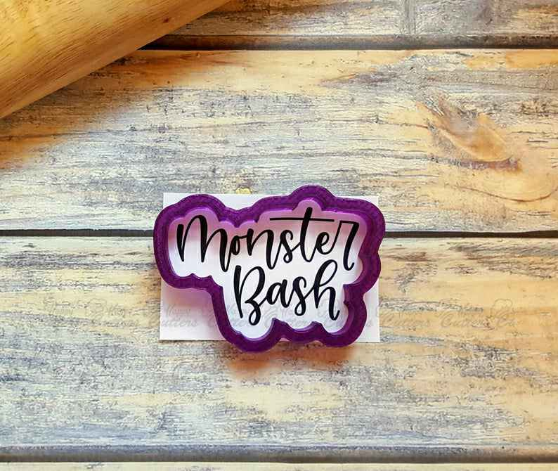 Monster Bash Hand Lettered Cookie Cutter and Fondant Cutter and Clay Cutter with Optional Stencil,                       letter cookie cutters, cursive letter cookie stamp, cursive letter fondant cutters, fancy letter cookie cutters, large letter cookie cutters, letter shaped cookie cutters, pi shaped cookie cutter, gucci cookie cutter, rolling cookie cutter, super mario cookie cutter set, fondant cutters michaels, paw patrol cookie cutters, m&g cookie cutters, groundhog cookie cutter,