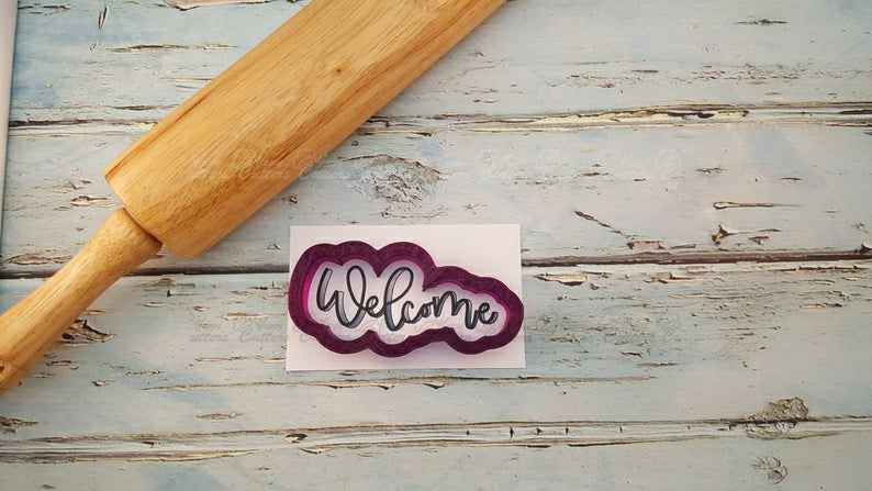Welcome Hand Lettered Cookie Cutter and Fondant Cutter and Clay Cutter With Optional Stencil,                       letter cookie cutters, cursive letter cookie stamp, cursive letter fondant cutters, fancy letter cookie cutters, large letter cookie cutters, letter shaped cookie cutters, wilton cookie cutters, cookie cutter urban, big gingerbread cookie cutter, fiesta cookie cutters, paw patrol cookie cutters michaels, baby foot cookie cutter, mini star cookie cutter, christmas cookie cutters near me,