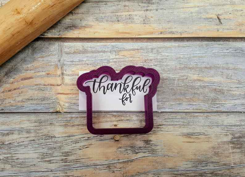 Thankful for Plaque or Place Card Cookie Cutter and Fondant Cutter and Clay Cutter with Optional Stencil,                       letter cookie cutters, cursive letter cookie stamp, cursive letter fondant cutters, fancy letter cookie cutters, large letter cookie cutters, letter shaped cookie cutters, kmart christmas cookie cutters, small shape cutters, cow cookie cutter, pie slice cookie cutter, lightning cookie cutter, sea animal cookie cutters, congrats cookie cutter, 4 round cookie cutter,