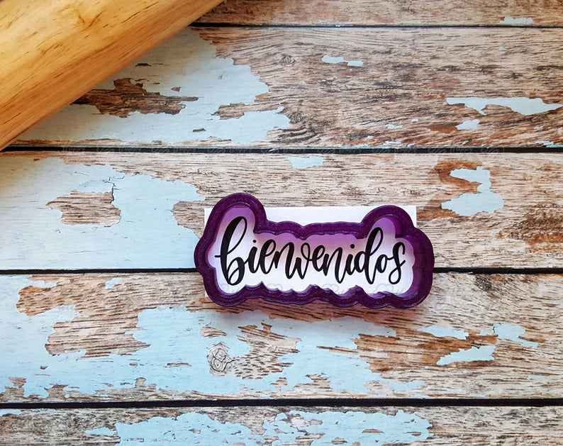 Bienvenidos (Welcome) Hand Lettered Cookie Cutter and Fondant Cutter and Clay Cutter With Optional Stencil (Stencil Coming Soon),                       letter cookie cutters, cursive letter cookie stamp, cursive letter fondant cutters, fancy letter cookie cutters, large letter cookie cutters, letter shaped cookie cutters, snow cone cookie cutter, elmo cookie cutter, gucci fondant cutter, snowflake cookie cutter, peppa pig cookie cutter near me, miniature cookie cutters, santa hat cookie cutter, small square cookie cutter,