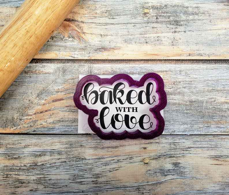 Baked with Love Hand Lettered Cookie Cutter or Fondant Cutter and Clay Cutter,                       letter cookie cutters, cursive letter cookie stamp, cursive letter fondant cutters, fancy letter cookie cutters, large letter cookie cutters, letter shaped cookie cutters, cloud fondant cutter, roblox cookie cutter, sweet sugarbelle shape shifter, cookie cutter tree, dinosaur fossil cookie cutters, fancy number cookie cutters, celtic cookie cutters, sweet 16 cookie cutter,