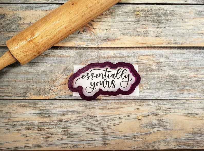Essentially Yours Hand Lettered Cookie Cutter and Fondant Cutter and Clay Cutter with Optional Stencil (stencil coming soon),                       letter cookie cutters, cursive letter cookie stamp, cursive letter fondant cutters, fancy letter cookie cutters, large letter cookie cutters, letter shaped cookie cutters, mini gingerbread house cookie cutter, lady milkstache cookie cutters, 40 cookie cutter, cookie cutter sheet, stainless steel cookie cutters, 1 inch square cookie cutter, teddy bear cutter, unicorn cutter,