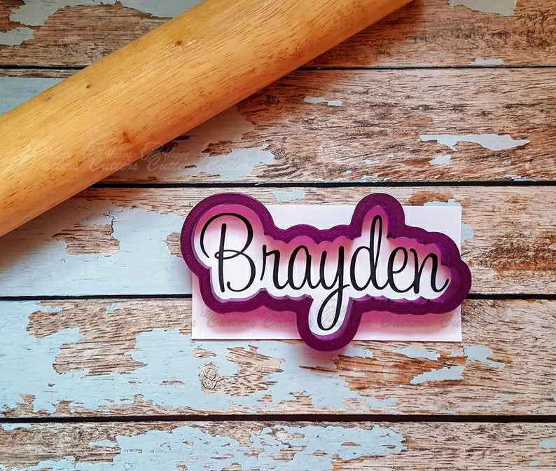Brayden Hand Lettered Cookie Cutter and Fondant Cutter and Clay Cutter,                       letter cookie cutters, cursive letter cookie stamp, cursive letter fondant cutters, fancy letter cookie cutters, large letter cookie cutters, letter shaped cookie cutters, winnie the pooh cookie cutter set, sweet sugarbelle valentine cookie cutters, cheer cookie cutters, train cookie cutter, plunger cookie cutters, disney coco cookie cutters, mini crown cookie cutter, yorkie cookie cutter,