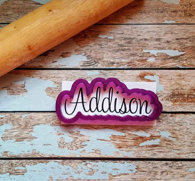 Addison Hand Lettered Cookie Cutter and Fondant Cutter and Clay Cutter,                       letter cookie cutters, cursive letter cookie stamp, cursive letter fondant cutters, fancy letter cookie cutters, large letter cookie cutters, letter shaped cookie cutters, lily cookie cutter, mermaid cookie cutter set, safari animal cookie cutters, volkswagen cookie cutter, diy cookie cutter, outer space cookie cutters, bull cookie cutter, children's cookie cutters,