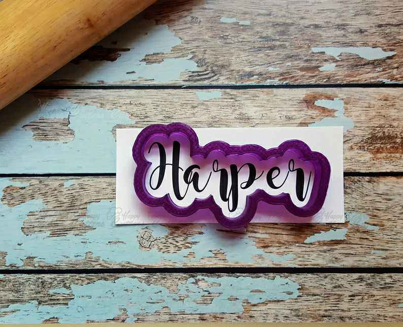 Harper Hand Lettered Cookie Cutter and Fondant Cutter and Clay Cutter,                       letter cookie cutters, cursive letter cookie stamp, cursive letter fondant cutters, fancy letter cookie cutters, large letter cookie cutters, letter shaped cookie cutters, round cutter set, cow head cookie cutter, rattle cookie cutter, sweet sugarbelle shape shifter cookie cutters, dallas cowboys cookie cutter, pug cookie cutter, 8 inch round cake cutter, avengers fondant cutters,