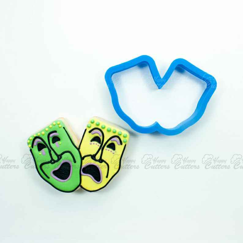 Theater Mask Cookie Cutters | Mask Cookie Cutter | Drama Cookie Cutters | 3D Cookie Cutters | Unique Cookie Cutters,                       st patty's day cookie cutters, mardi gras cookie cutters, mardi gras fondant cutters, st patty's day fondant cutters, hat cookie cutters, st patty's day cutters, pokemon cutter, diy cookie cutter aluminum foil, ballet shoe cookie cutter, cookie cutters uk, winnie the pooh cookie cutter set, biscuit cutter, shoe cookie cutter, teapot cookie cutter,