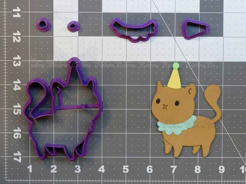 Birthday Cat  Cookie Cutter Set,                       birthday cookie cutters, happy birthday cookie cutter, birthday cake cookie cutter, happy birthday cookie stamp, baby shower cookie cutters, bridal shower cookie cutters, witch hat cookie cutter, chef hat cookie cutter, alpaca cookie, back of truck cookie cutter, linzer cutter, turkey cutter, children's food shape cutters, one cookie cutter,