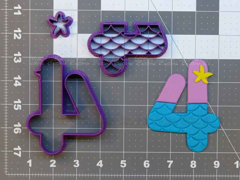Mermaid Number - Four  Cookie Cutter Set,                       alphabet cookie cutters, alphabet cookie stamps, large alphabet cookie cutters, mini alphabet cookie cutters	, number cookie cutters, number 1 cookie cutter, christmas tree cookie cutter set, mario brothers cookie cutters, boo cookie cutter, dancer cookie cutter, wedding cookie cutters, classic car cookie cutters, baby dress cookie cutter, gingerbread man cutter,