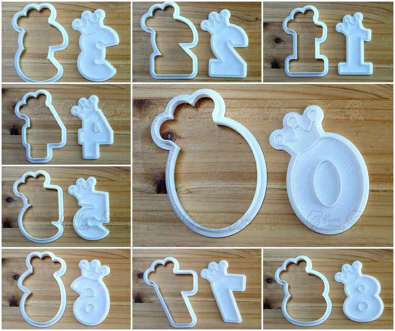 Numbers wearing Crown Cookie Cutter and Stamp,                       alphabet cookie cutters, alphabet cookie stamps, large alphabet cookie cutters, mini alphabet cookie cutters	, number cookie cutters, number 1 cookie cutter, moon cookie cutter, amazon biscuit cutter, silicone cookie stamps, beach cookie cutters, cookiecutter python, pampered chef cookie cutters, malaysian cutters, jack skellington cookie cutter,
