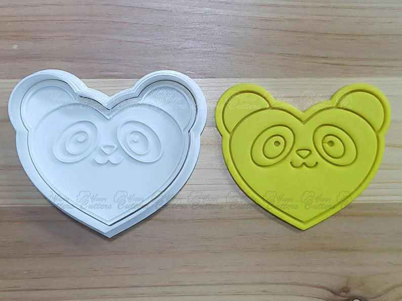 Panda Heart Cookie Cutter and Stamp,                       animal cutters, animal cookie cutters, farm animal cookie cutters, woodland animal cookie cutters, elephant cookie cutter, dinosaur cookie cutters, plaque cookie cutter, outer space cookie cutters, cookie cutters uk, scooby doo cookie cutter, star shape cutter, star biscuit cutters, truly mad plastic, schnauzer cookie cutter,