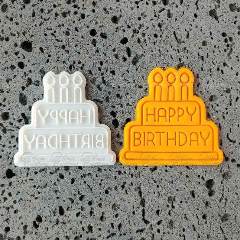 Happy Birthday Cake Cookie Cutter + Stamp (2 PCS),                       birthday cookie cutters, happy birthday cookie cutter, birthday cake cookie cutter, happy birthday cookie stamp, baby shower cookie cutters, bridal shower cookie cutters, small pastry cutters, avon christmas tree cookie cutters, paw print cookie cutter, grinch cookie cutter walmart, moon and star cookie cutters, rattle cookie cutter, bear cookie cutter, r and m cookie cutters,