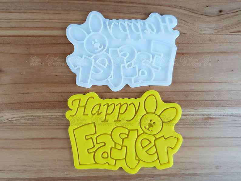Happy Easter 02  Cookie Cutter and Stamp,                       easter cookie cutters, easter egg cookie cutter, easter bunny cookie cutter, easter cutters, rabbit cutters, rabbit cookie cutter, church cookie cutter, wedding cookie cutters, tmnt cookie cutter, easter bunny cookie cutter, dog cookie cutters walmart, windmill cookie cutter, eevee cookie cutter, stamp cutters,