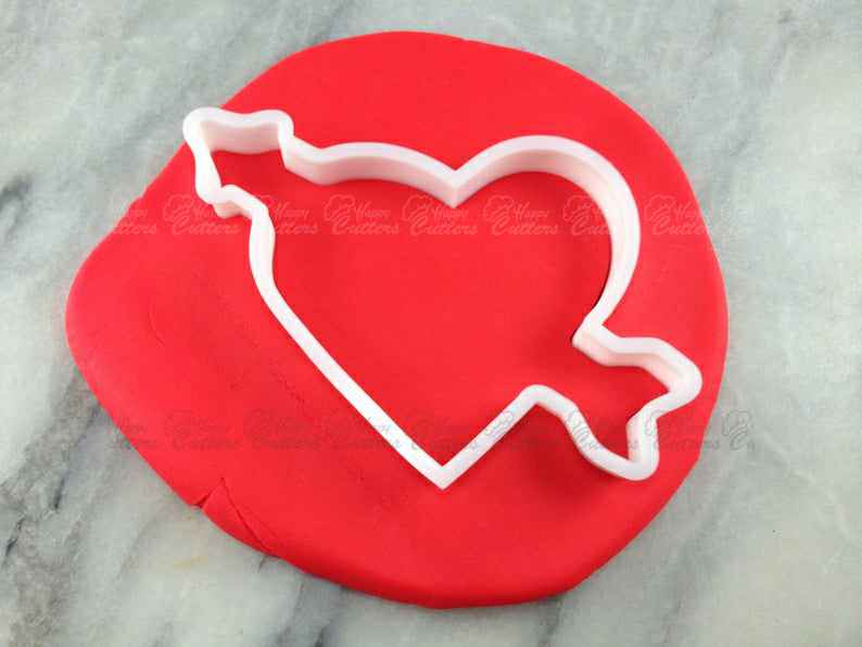 Heart with Arrow Cookie Cutter Outline - SHARP EDGES - FAST Shipping - Choose Your Own Size!,                       heart cookie cutter, heart shaped cookie cutter, heart cutter, heart shape cutter, mini heart cookie cutter, love heart cookie cutter, paw print fondant cutter, the office cookie cutters, rectangle cake cutter, nurse cookie cutters, leaf biscuit cutter, plaque cookie, beer cookie cutter, duck shaped cookie cutter,