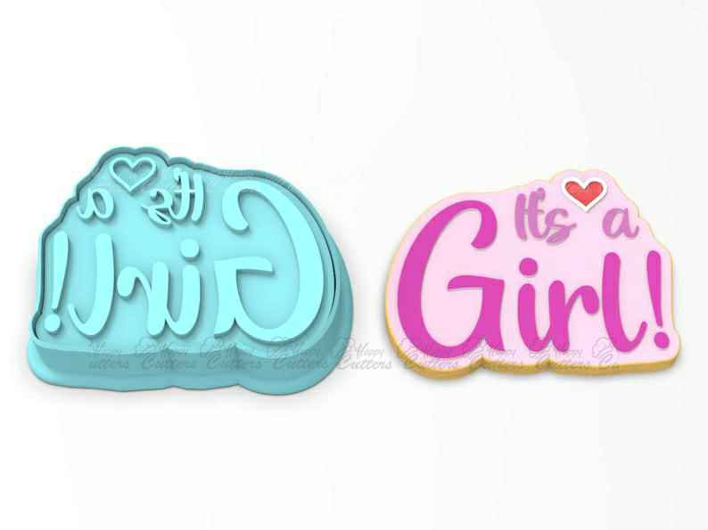 It's a Girl  Cookie Cutter | Stamp | Stencil - SHARP EDGES - FAST Shipping - Choose Your Own Size!,                       letter cookie cutters, cursive letter cookie stamp, cursive letter fondant cutters, fancy letter cookie cutters, large letter cookie cutters, letter shaped cookie cutters, cookie cutter tree, best christmas cookie cutters, 8 inch round cookie cutter, dog bone cutter, bass fish cookie cutter, cookie cutter family, half moon cookie cutter, teacher appreciation cookie cutters,