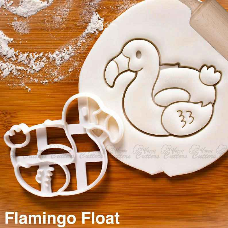 Flamingo Float cookie cutter - nautical summer birthday pool party,                       beach cookie cutters, beach themed cookie cutters, beach ball cookie cutter, summer cookie cutters, holiday cookie cutters, holiday cookie cutter set, haunted house cookie cutter, puzzle cookie cutter, dream catcher cookie cutter, biscuit stamp, number 1 cookie cutter near me, alligator cookie cutter, sugar cookie stamps, geometric cookie cutters,