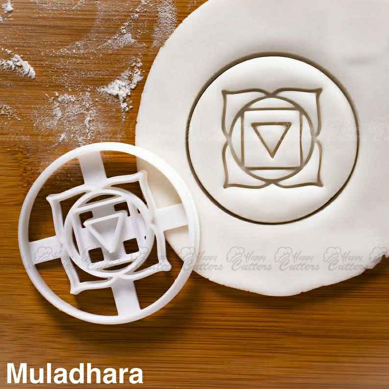 Yoga Chakras - Muladhara cookie cutter | biscuit namaste root support lotus symbol Yogic tantra seed mantra petals asanas energy,                       plaque cookie cutter, plaque cookie, square plaque cookie cutter, cookie plaque, shape cutters, round cookie cutters, wrestling cookie cutter, ocean themed cookie cutters, controller cookie cutter, fancy cookie cutters, christmas bulb cookie cutter, 100 piece cookie cutter set, canadian tire cookie cutters, helmet cookie cutter,