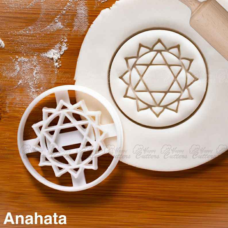 Yoga Chakras - Anahata cookie cutter |  biscuit namaste pure heart calm Yogic celestial realm tantra mantra petals asanas bija pose,                       plaque cookie cutter, plaque cookie, square plaque cookie cutter, cookie plaque, shape cutters, round cookie cutters, teddy bear biscuit cutter, lion cookie cutter, dachshund cookie cutter, number cookie cutters michaels, large round cookie cutter, dumbbell cookie cutter, cassette tape cookie cutter, possum cookie cutter,