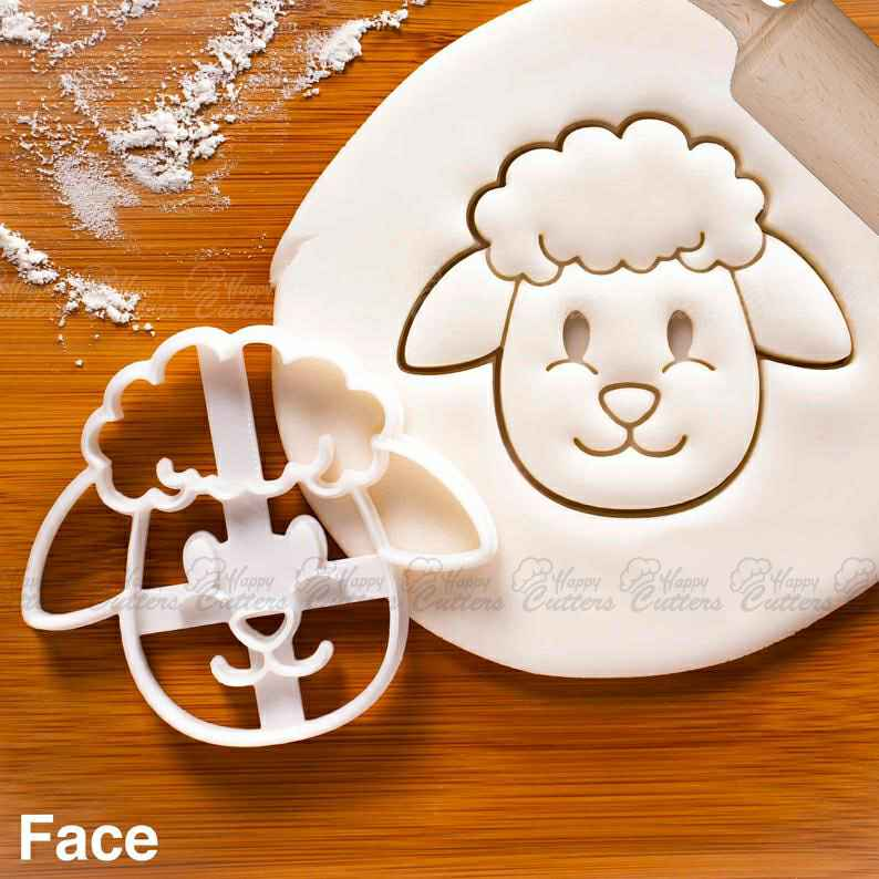 Sheep Face cookie cutter - Bake farm animal themed baby shower favors or birthday party treats,                       animal cutters, animal cookie cutters, farm animal cookie cutters, woodland animal cookie cutters, elephant cookie cutter, dinosaur cookie cutters, sonic cookie cutter, graduation cut out cookies, cowboy boot cookie, fishing cookie cutters, mini cake cutter, farm animal cookie cutters, custom made cookie cutters, sweet sugarbelle cookie cutters christmas,