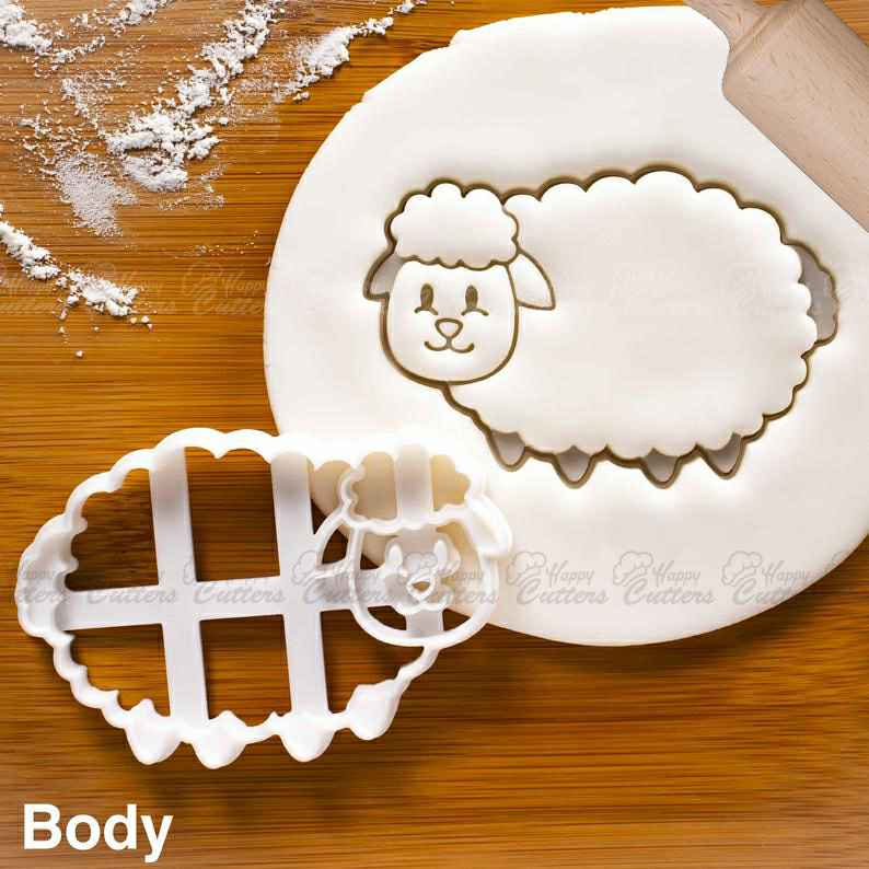 Sheep Body cookie cutter - Bake farm animal themed baby shower favors or birthday party treats,                       animal cutters, animal cookie cutters, farm animal cookie cutters, woodland animal cookie cutters, elephant cookie cutter, dinosaur cookie cutters, truly mad plastic, circle cake cutter, handmade cookie cutters, cookie impression stamps, skateboard cookie cutter, r and m cookie cutters, sunflower cookie cutter michaels, paisley cookie cutter,
