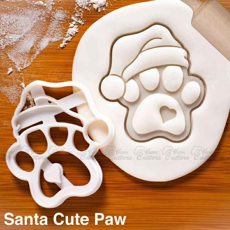 Santa Cute Paw Cookie Cutter |  biscuit cutters heart realistic paws print dog lover gifts Xmas snacks foot prints Merry Christmas,                       animal cutters, animal cookie cutters, farm animal cookie cutters, woodland animal cookie cutters, elephant cookie cutter, dinosaur cookie cutters, horse shaped cookie cutter, non cookie cutter, fancy number cookie cutters, mermaid cookie cutter set, rocket ship cookie cutter, wooden cookie stamps, cookie cutter girl, devil cookie cutter,