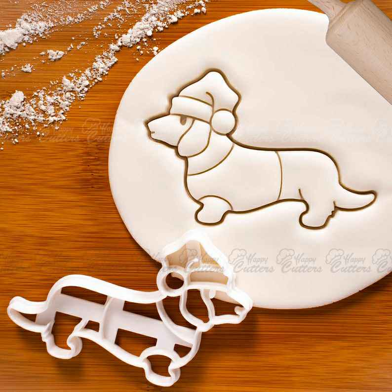 Christmas Dachshund cookie cutter - Cute dog with sweater and Santa Hat, treats for Xmas winter festive doggy party,                       animal cutters, animal cookie cutters, farm animal cookie cutters, woodland animal cookie cutters, elephant cookie cutter, dinosaur cookie cutters, hot air balloon cookie cutter, sweet sugarbelle christmas platter set, snowflake biscuit cutter, sonic the hedgehog cookie cutter, truly mad plastic, animal cracker cookie cutters, new cookie cutters, fluted cookie cutter,