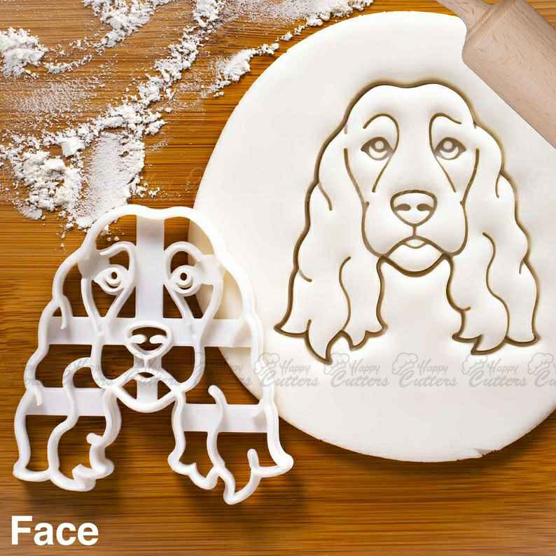 Show Cocker Spaniel Dog Face cookie cutter - Bake cute dog treats for doggy party,                       animal cutters, animal cookie cutters, farm animal cookie cutters, woodland animal cookie cutters, elephant cookie cutter, dinosaur cookie cutters, cloud shaped cookie cutter, champagne flute cookie cutter, mini goldfish cookie cutter, t rex cookie cutter, honeycomb cookie cutter, cool cookie shapes, wilton cookie tree cutter kit, pastry cutter shapes,