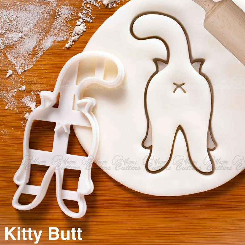 Kitty Butt cookie cutter |  biscuit cutters cute happy cat body language behavior purrfect katze feline party friendly roll buttock,                       animal cutters, animal cookie cutters, farm animal cookie cutters, woodland animal cookie cutters, elephant cookie cutter, dinosaur cookie cutters, yng llc cookie cutters, 1950s themed cookie cutters, sloth cookie cutter, dog bone shaped cookies, holly leaf cookie cutter, large letter cookie cutters, 5 inch cookie cutter, s cookie cutter,