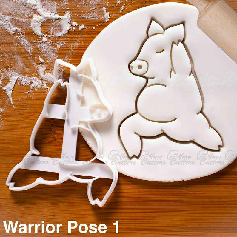 Yoga Pig Warrior Pose 1 cookie cutter | biscuit biscuits cutters | Virabhadrasana fitness exercise poses one of a kind cute ooak ,                       animal cutters, animal cookie cutters, farm animal cookie cutters, woodland animal cookie cutters, elephant cookie cutter, dinosaur cookie cutters, direwolf cookie cutter, cookie cutter shapes, bow cookie cutter, gymnast cookie cutter, dinosaur cookie cutters, kaleidacuts cookie cutters, crazy cookie cutters, state shaped cookie cutters,