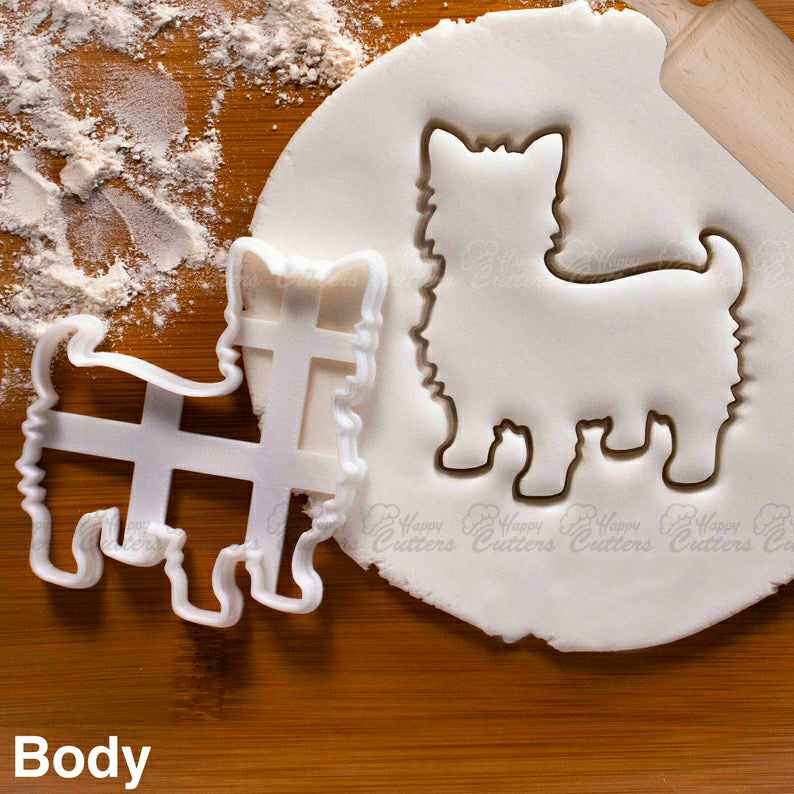 Yorkshire Terrier Body cookie cutter | cute fluffy Yorkie dog biscuit fondant clay cutter,                       animal cutters, animal cookie cutters, farm animal cookie cutters, woodland animal cookie cutters, elephant cookie cutter, dinosaur cookie cutters, giant christmas cookie cutters, linzer cookie cutter, mermaid tail cutter, gingerdead men, breakfast at tiffany's cookie cutters, biscuit and doughnut cutter, grad cap cookie cutter, cross shaped cookie cutter,