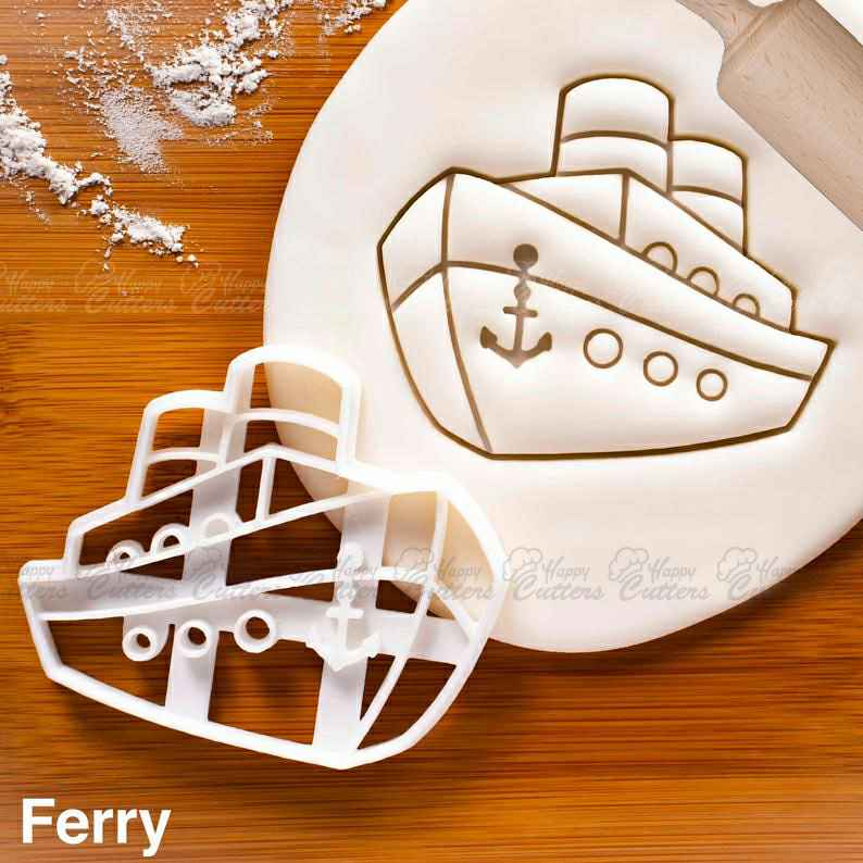 Ferry cookie cutter | anchor nautical baby shower cookies wedding birthday party ship cruise boat cruiseferry Ferryboat vessel bon voyage,                       airplane cookie cutter	, transport cookie cutters, ship cookie cutter, bicycle cookie cutter, bus cookie cutter, car cookie cutter, racoon cookie cutter, monkey cookie cutter, alphabet cookie cutters kmart, stadter cookie cutters, pickup truck cookie cutter, construction cookie cutters, baby biscuit cutters, square plaque cookie cutter,