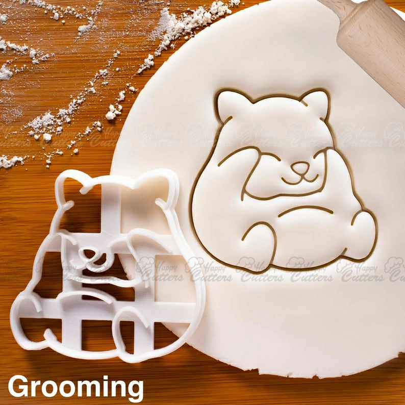 Hamster Grooming cookie cutter - Bake cute animal themed Birthday Party or Kawaii Baby Shower,                       animal cutters, animal cookie cutters, farm animal cookie cutters, woodland animal cookie cutters, elephant cookie cutter, dinosaur cookie cutters, small gingerbread man cutter, bread cookie cutter, cherry blossom cookie cutter, monster cookie cutters, heart cookie cutter michaels, vintage santa cookie cutter, easter cookie cutters, buy cookie cutters near me,