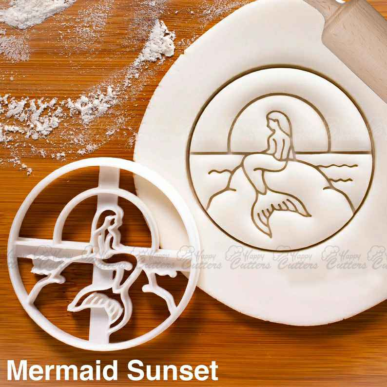 Mermaid Sunset cookie cutter - under the sea nautical themed birthday party,                       ocean cookie cutters, ocean themed cookie cutters, mermaid cookie cutter, mermaid tail cookie cutter, little mermaid cookie cutters, mermaid cutter, dinosaur cookie cutters uk, baby themed cookie cutters, miss to mrs cookie cutter, apple cookie cutter, ou cookie cutter, whale cookie cutter, crumbs custom cookie cutters, bunting cookie cutter,