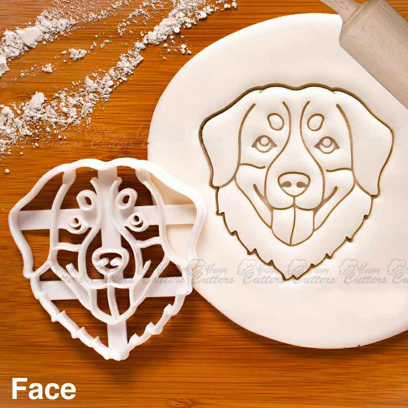 Bernese Mountain Dog Face cookie cutter - Bake cute dog treats for Sennenhund doggy party,                       animal cutters, animal cookie cutters, farm animal cookie cutters, woodland animal cookie cutters, elephant cookie cutter, dinosaur cookie cutters, flower cookie cutters walmart, chanel fondant cutter, dog bone cutter, suitcase cookie cutter, abc cookie cutters, bow tie cookie cutter, dove cookie cutter, cat face cookie cutter,