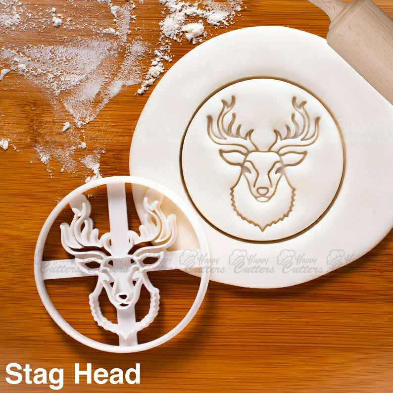 Stag Head cookie cutter |  biscuit cutters Christmas rustic party Reindeer taxidermy taxidermist festive skull forest nature spirit,                       animal cutters, animal cookie cutters, farm animal cookie cutters, woodland animal cookie cutters, elephant cookie cutter, dinosaur cookie cutters, cookie cutter shop, mini star cookie cutter, stethoscope cookie cutter, monogram cookie cutter, pastry cutter kmart, ballet shoe cookie cutter, baby dress cookie cutter, spider cookie cutter,