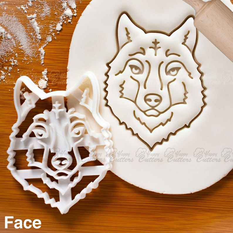 Wolf Face cookie cutter |  biscuit cutters animal howling werewolf head portrait Arctic wolves pack conservation forest werewolves,                       animal cutters, animal cookie cutters, farm animal cookie cutters, woodland animal cookie cutters, elephant cookie cutter, dinosaur cookie cutters, shortbread cutter, dinosaur footprint cookie cutter, moose cookie cutter, sandwich cut outs, christmas light bulb cookie cutter, geometric cookie cutters, flame fondant cutter, squirrel cookie cutter,