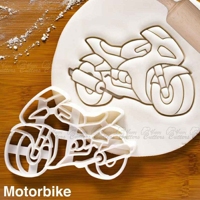 Motorbike cookie cutter - Motorcycle Riders themed Birthday Party,                       airplane cookie cutter	, transport cookie cutters, ship cookie cutter, bicycle cookie cutter, bus cookie cutter, car cookie cutter, small christmas cookie cutters, sugar cookie stamps, sandwich cutter set, ballet shoe cookie cutter, camper cookie cutter, bear face cookie cutter, gingerbread man cookie cutter kmart, trolley cookie cutter,