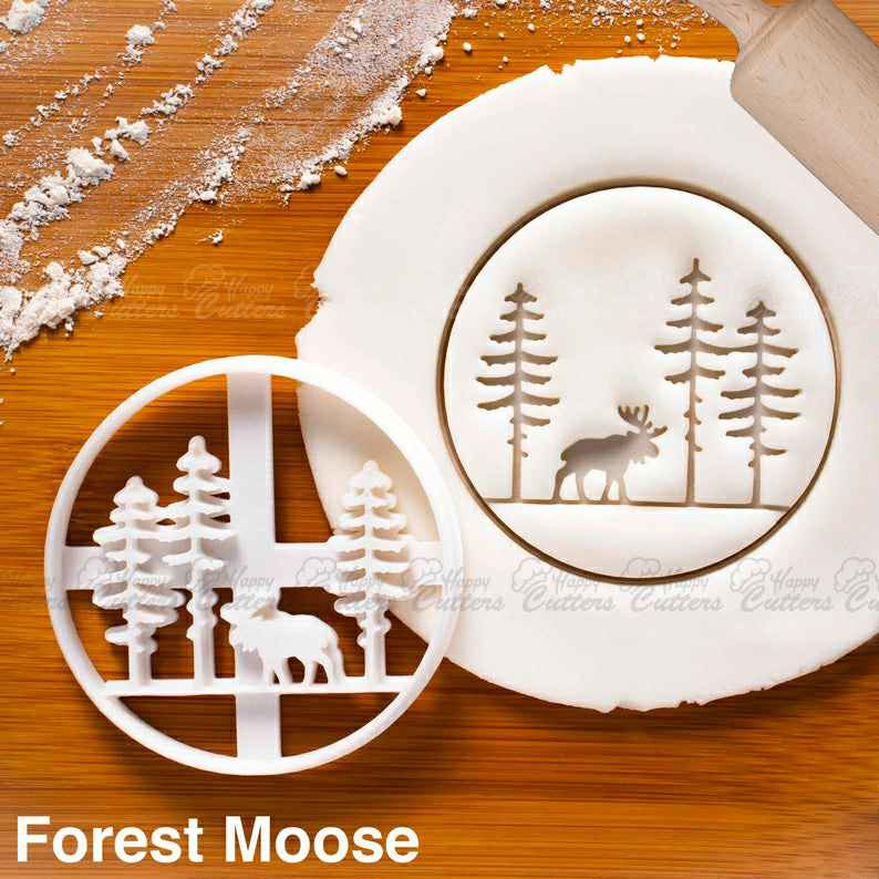 Forest Moose cookie cutter |  biscuit cutters Christmas rustic party taxidermy taxidermist festive elk Alces alces nature bear,                       animal cutters, animal cookie cutters, farm animal cookie cutters, woodland animal cookie cutters, elephant cookie cutter, dinosaur cookie cutters, firefighter cookie cutters, bee cookie cutter, chef hat cookie cutter, cherry blossom fondant cutter, football cutter, m cookie cutter, gingerbread girl cookie cutter, heavy duty cookie cutters,