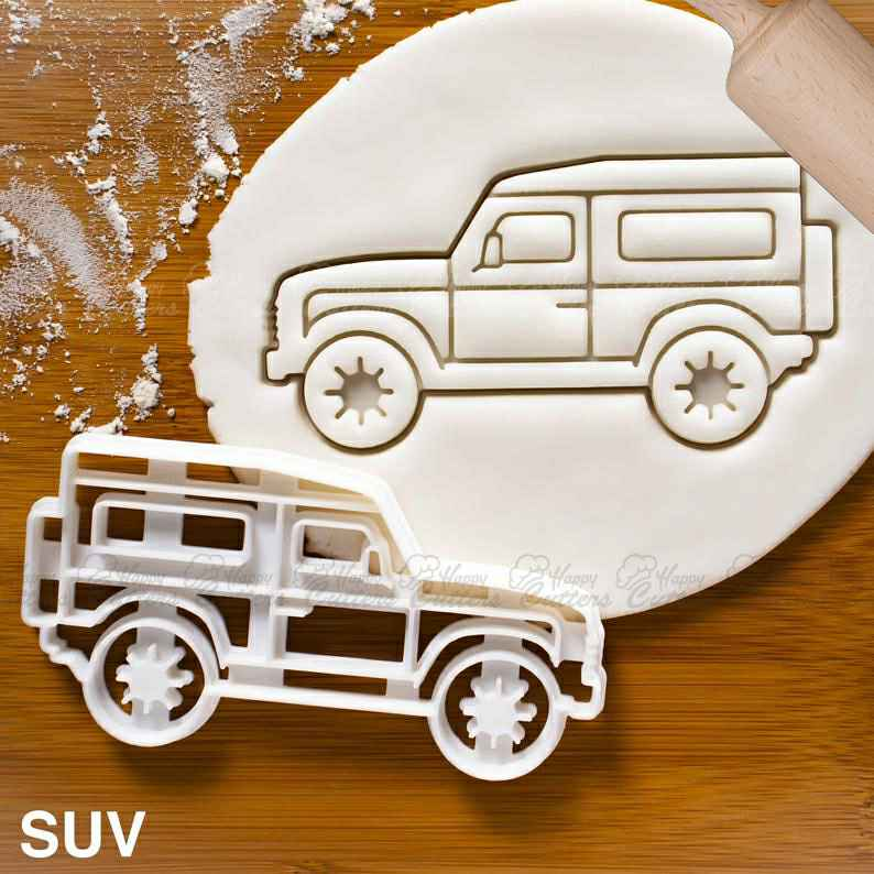 SUV cookie cutter |  biscuit cutters sports utility vehicle caravan classic automobile collector automotive wheels birthday party,                       airplane cookie cutter	, transport cookie cutters, ship cookie cutter, bicycle cookie cutter, bus cookie cutter, car cookie cutter, zoo animal cookie cutters, avocado cookie cutter, rocking horse cookie cutter, camera cookie cutter, sneaker cookie cutter, stitch cookie cutter, anchor cookie cutter, moon cookie cutter hobby lobby,