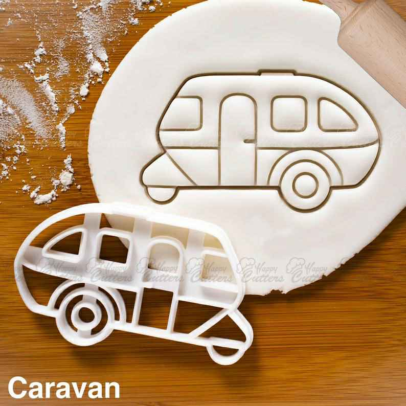 Caravan cookie cutter |  biscuit cutters retro camper van caravan classic automobile collector automotive wheels birthday party,                       airplane cookie cutter	, transport cookie cutters, ship cookie cutter, bicycle cookie cutter, bus cookie cutter, car cookie cutter, christmas pie crust cutters, harry potter cookie cutters, wedding ring cookie cutter, truck with tree cookie cutter, leprechaun cookie cutter, pampered chef biscuit cutter, plastic shape cutters, lakeland snowflake cutters,