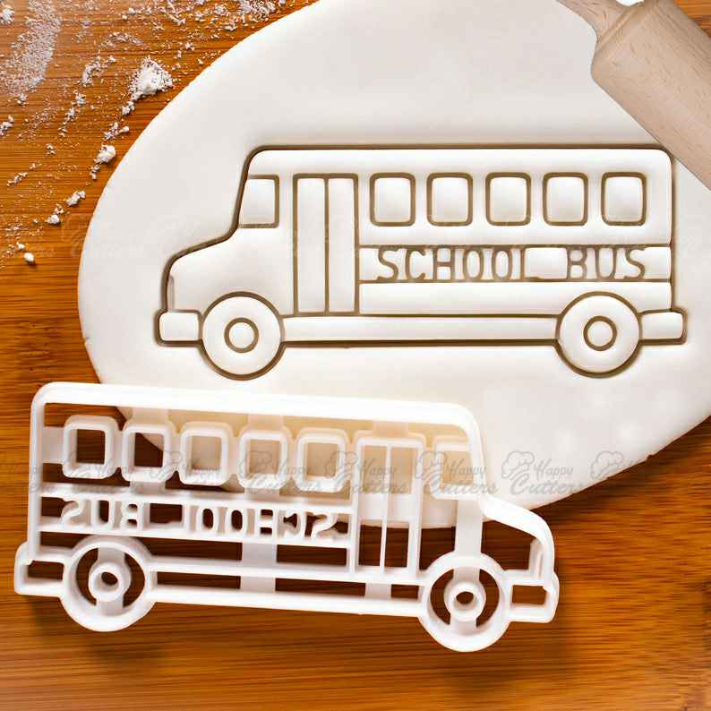 School Bus cookie cutter - Bake Back to School Party biscuits,                       airplane cookie cutter	, transport cookie cutters, ship cookie cutter, bicycle cookie cutter, bus cookie cutter, car cookie cutter, llama cookie cutter, super mario cookie cutter set, commercial cookie cutters, ballet cookie cutter, biscuit shape cutters, squirrel cookie cutter, 2 inch round cookie cutter, direwolf cookie cutter,