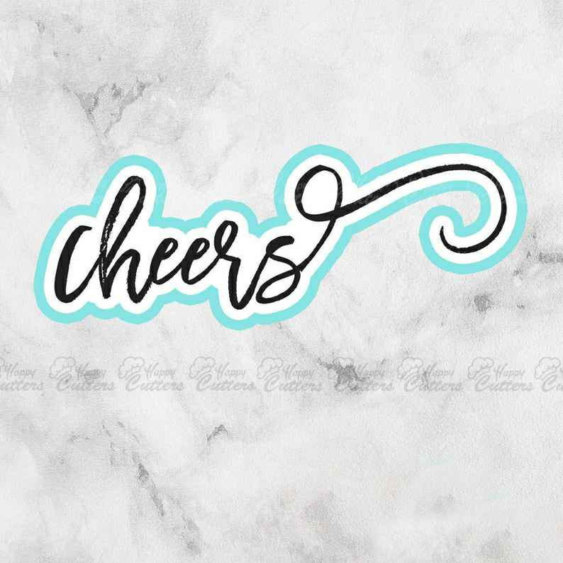 Cheers Cookie Cutter | Bachelorette Party | Wedding | Fondant Cutter,                       letter cookie cutters, cursive letter cookie stamp, cursive letter fondant cutters, fancy letter cookie cutters, large letter cookie cutters, letter shaped cookie cutters, fussy pup cookie cutters, fancy cookie cutters, fluted round cookie cutter, bobbies cookie cutters, frozen cookie cutters, dog paw cookies, small alphabet cookie cutters, the cookie stamp,