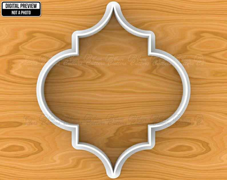 Islamic Quatrefoil Traditional Pattern Tile Plaque Cookie Cutter, Selectable sizes, Sharp Edge Upgrade Available SKU1375,                       plaque cookie cutter, plaque cookie, square plaque cookie cutter, cookie plaque, shape cutters, round cookie cutters, fall leaf cookie cutters, bunting cookie cutter, monkey cutter, fiesta cookie cutter set, rolling pin with cookie cutters inside, pastry cutter set, autumn leaf cutters, multi cookie cutter sheet,