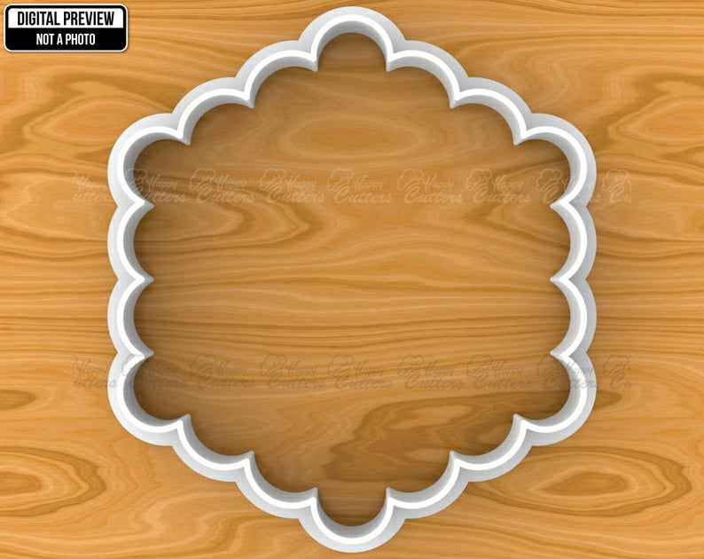 Scalloped Hexagon Vintage Plaque Frame Cookie Fondant Cutter, Selectable sizes, Sharp Edge Upgrade Available SKU1145,                       plaque cookie cutter, plaque cookie, square plaque cookie cutter, cookie plaque, shape cutters, round cookie cutters, jokumo, hey duggee cookie cutter, wolf cookie cutter, metal scone cutters, soccer ball cookie cutter, horse cookie cutter michaels, ambulance cookie cutter, cutter set,