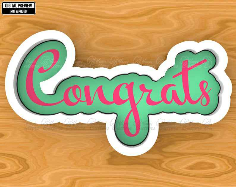 Congrats Hand Lettered Cookie Cutter, Selectable sizes, Sharp Edge Upgrade Available SKU1373,                       letter cookie cutters, cursive letter cookie stamp, cursive letter fondant cutters, fancy letter cookie cutters, large letter cookie cutters, letter shaped cookie cutters, round scalloped cookie cutter, batman cake cutter, doll cookie cutter, letter k cookie cutter, frenchie cookie cutter, running shoe cookie cutter, dog bone cookie cutter near me, pug cookie cutter,
