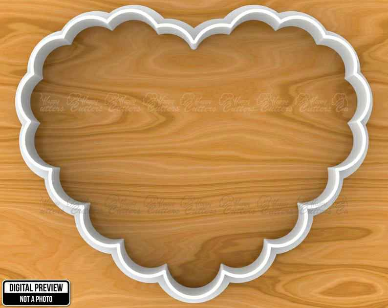 Scalloped Heart Vintage Plaque Frame Cookie Fondant Cutter, Selectable sizes, Sharp Edge Upgrade Available SKU1144,                       plaque cookie cutter, plaque cookie, square plaque cookie cutter, cookie plaque, shape cutters, round cookie cutters, sitting elephant cookie cutter, ps4 controller cookie cutter, crumbs cookie cutters, hibiscus cookie cutter, cutter craft cookie cutters, shortbread cookie cutter, dollar general cookie cutters, once bitten cookie cutter,