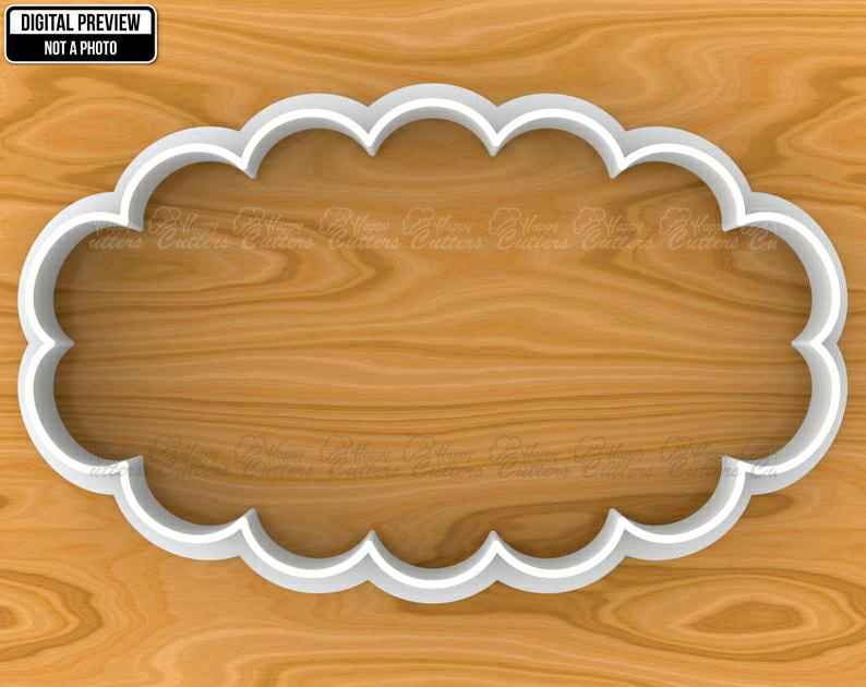 Scalloped Oval Vintage Plaque Frame Cookie Fondant Cutter, Selectable sizes, Sharp Edge Upgrade Available SKU1146,                       plaque cookie cutter, plaque cookie, square plaque cookie cutter, cookie plaque, shape cutters, round cookie cutters, iron man cookie cutter, extra large cookie cutters, music cookie cutter, cookie cutter world, sweet sugarbelle cookie cutters christmas, homemade biscuit cutter, continent cookie cutters, racoon cookie cutter,